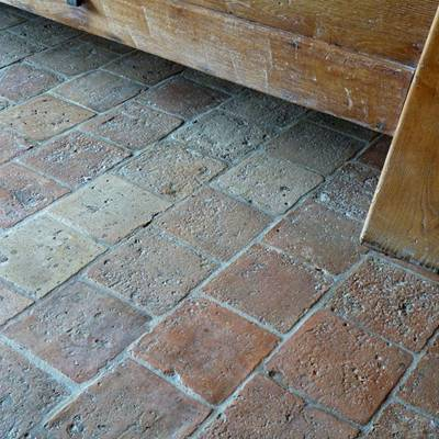 Floor tiles from cut bricks 1