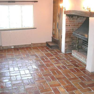 Floor tiles from cut bricks 10
