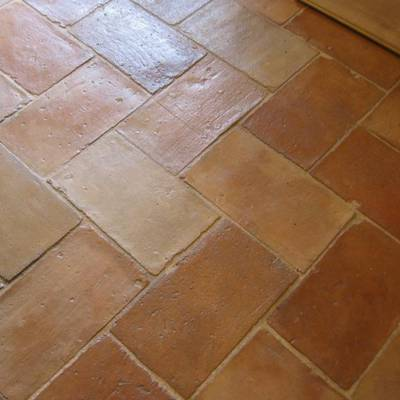 Floor tiles from cut bricks 11
