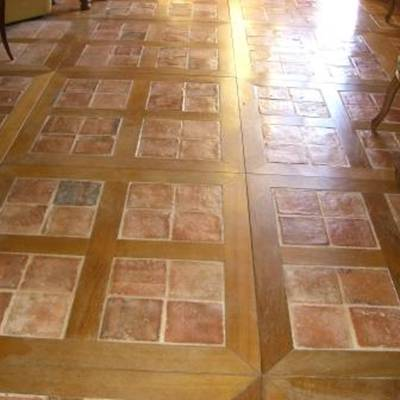 Floor tiles from cut bricks 14