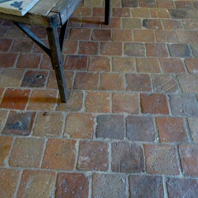Floor tiles from cut bricks 2