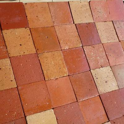 Floor tiles from cut bricks 7